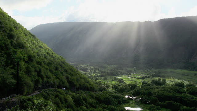 ws pan view of waipio valley near maui island / waipio, waipio valely, hawaii, the big island, usa - big island hawaii islands stock videos & royalty-free footage