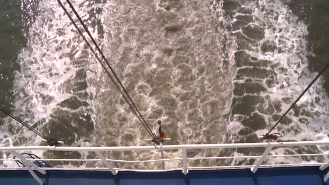 MS POV View of wakes of ship / Bremerhaven, Bremen, Germany