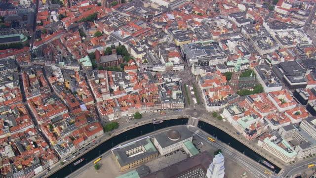 ws aerial zi view of walking street / copenhagen, denmark - oresund region stock videos & royalty-free footage