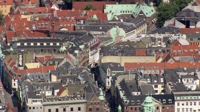 ws aerial view of walking street / copenhagen, denmark - copenhagen video stock e b–roll