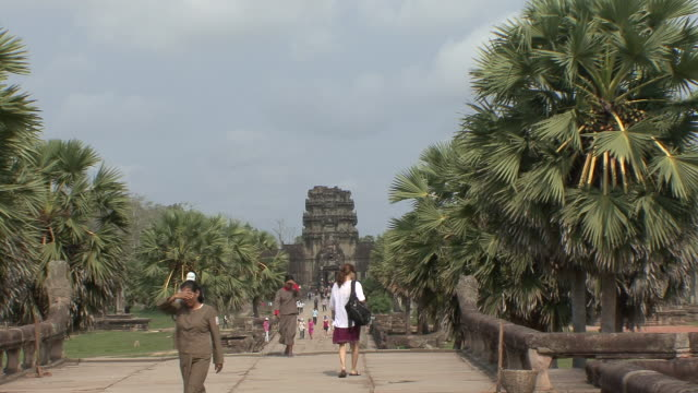 ws zo view of walkway leading to main gate / siem reap, cambodia - cambodia stock videos & royalty-free footage