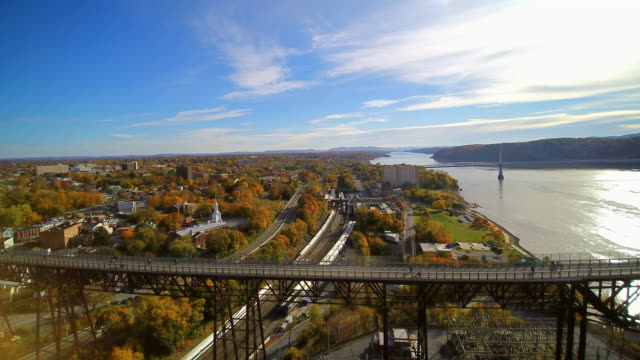 ws aerial pov view of walkway over the hudson bridge, mid-hudson bridge in background / poughkeepsie, new york state, united states - hudson river stock videos & royalty-free footage