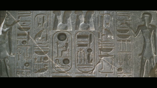 CU View of wall in ancient temple with hieroglyphics