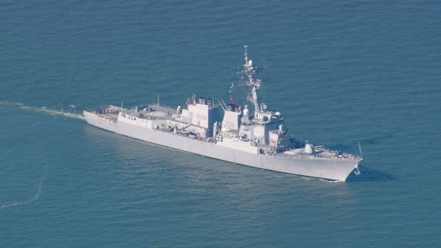 WS AERIAL ZI View of warships / Virginia, United States