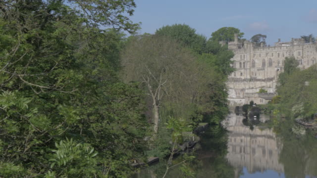 view of warwick castle and river avon, warwick, warwickshire, england, united kingdom, europe - circa 12th century stock videos & royalty-free footage