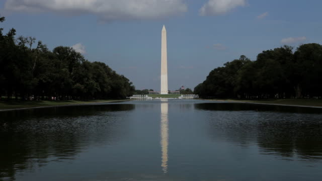 view of washington monument and reflecting pool - washington monument washington dc stock videos & royalty-free footage