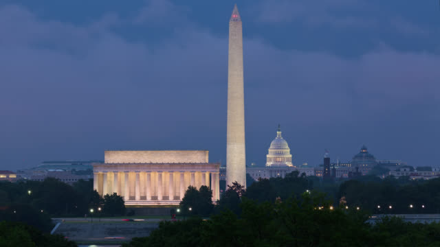T/L View of Washington Monument, Lincoln Memorial and United States Capitol at night / Washington, DC, USA