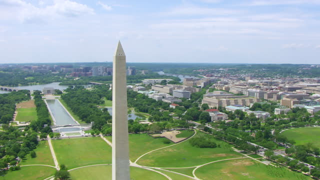 WS AERIAL POV View of Washington Monument, Lincoln Memorial, reflecting pool on National Mall and White House lawn / Washington DC, United States