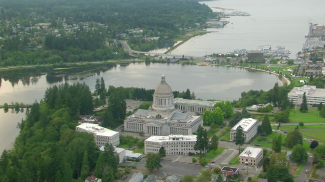 WS AERIAL View of Washington State Capitol building and landscaped grounds / Olympia, Washington, United States