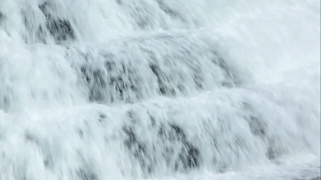 ms view of water cascading over series of ledges / west hurley, new york, united states - flowing water stock videos & royalty-free footage