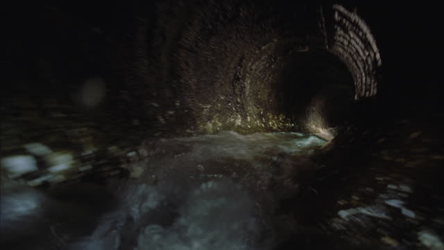 WS POV View of water flowing through water pipe