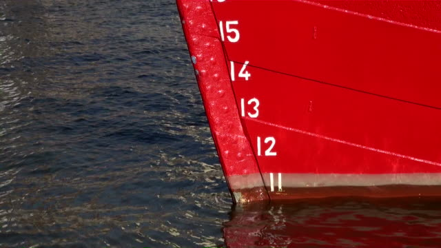 MS View of water level mark on ship rudder / Hamburg, Hamburg, Germany