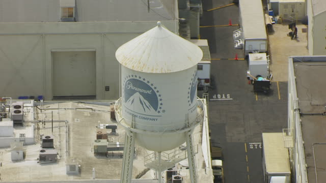 ws aerial pov view of water tower at paramount studios / los angeles, california, united states - paramount studios stock videos & royalty-free footage