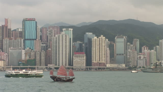 view of water transportation in hong kong china - traghetto star video stock e b–roll