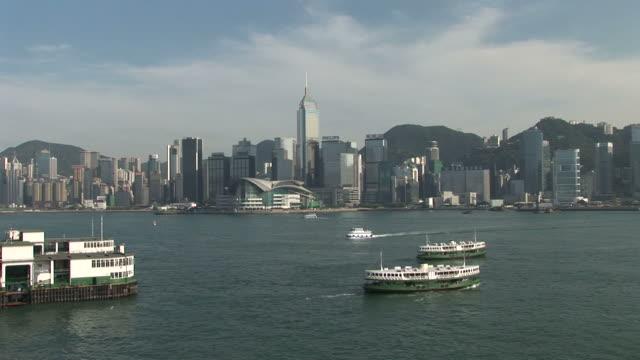 view of water transportation in hong kong china - central plaza hong kong stock-videos und b-roll-filmmaterial