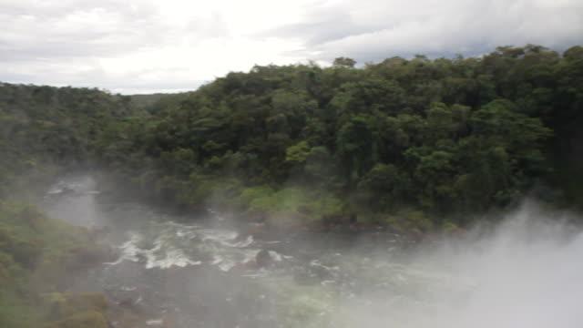 WS PAN View of waterfall and jungle / Campo Novo do Parecis, Mato Grossso, Brazil