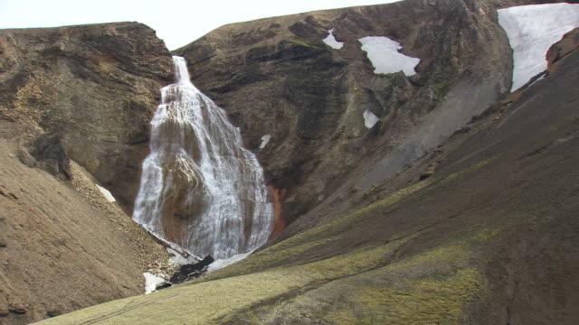 vídeos de stock, filmes e b-roll de ws aerial zi zo view of waterfall in landmannalaugur / iceland - islândia central
