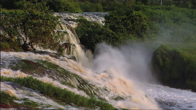 WS View of waterfall in rainforest / Ivindo National Park, Gabon