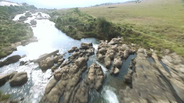 ms aerial td tu view of waterfall / mpumalanga, south africa - mpumalanga province stock videos and b-roll footage