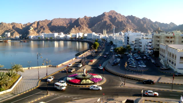 ws view of waterfront and corniche / muscat, oman - viewpoint stock videos & royalty-free footage