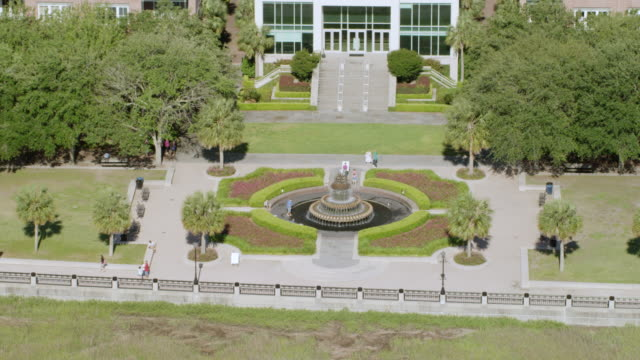 WS AERIAL POV View of Waterfront Park fountain / Charleston, South Carolina, United States