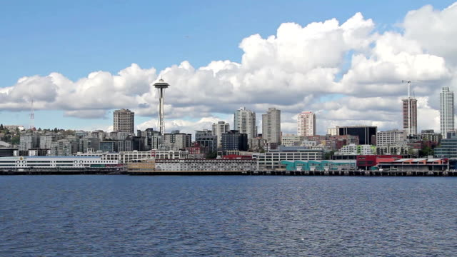 view of waterfront seattle from the ferry - pike place market stock videos and b-roll footage