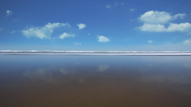 WS View of wave laps into shore at deserted beach / Kare Kare, Auckland, New Zealand.