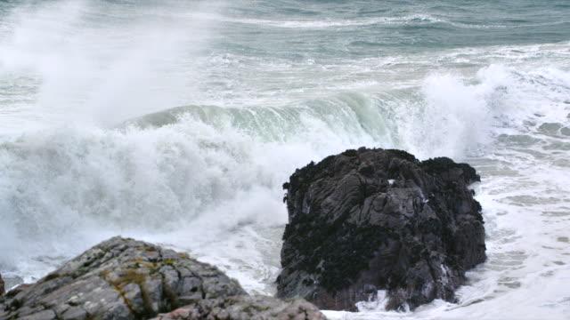 MS SLO MO View of waves breaking on shore rocks / Harris Island, Scotland, United Kingdom