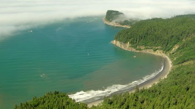 WS AERIAL ZI View of waves crashing on shore with fog moving over shoreline / Washington, United States