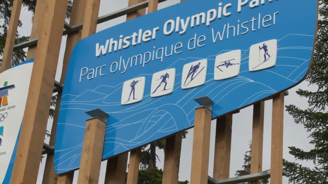 CU ZO View of Welcome sign to Whistler Olympic Park / Whistler, British Columbia, Canada