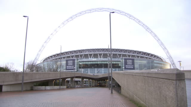 ws view of wembley stadium / london, united kingdom  - wembley stock videos & royalty-free footage