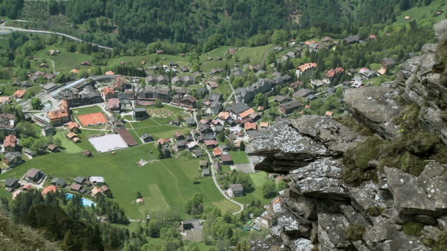 WS View of Wengen village from Männlichen mountain at Lauterbrunnen Valley / Grindelwald, Bernese Alps, Switzerland