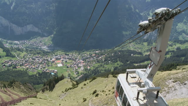 WS View of Wengen village from Männlichen with cable car / Grindelwald, Bernese Alps, Switzerland