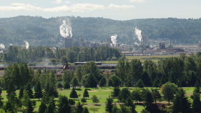 ws aerial view of weyerhaeuser paper and pulp mill surrounded by trees and hills / longview, washington, united states - paper mill stock videos & royalty-free footage