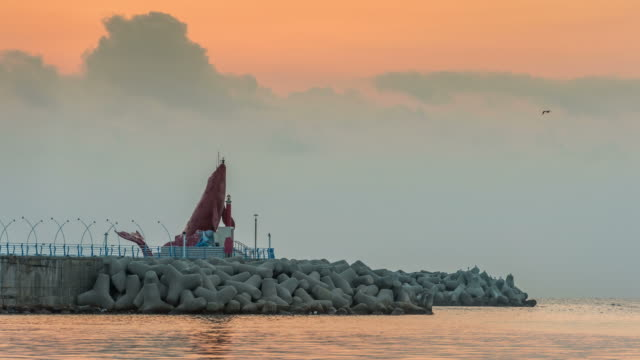 view of whale lighthouse with seascape at sunrise in jeongja-port, ulsan - cetacea stock videos & royalty-free footage
