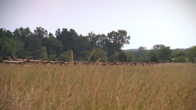 ws pan view of wheat field at gettysburg national military park with stalks and wooden fence in back side / gettysburg, virginia, united states - gettysburg stock videos & royalty-free footage