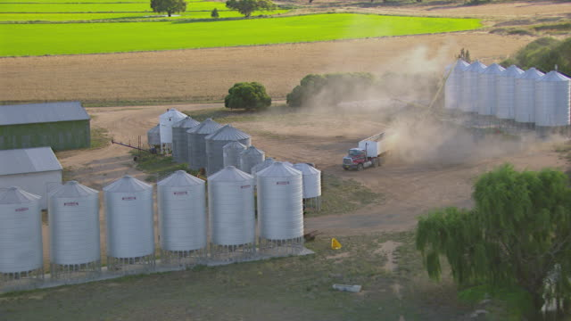 WS AERIAL View of Wheat loaded truck / Colligen Creek Deniliqiun, New South Wales, Australia