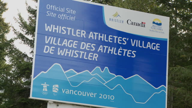 cu view of whistler athletes village sign / whistler, british columbia, canada  - the olympic games stock videos & royalty-free footage