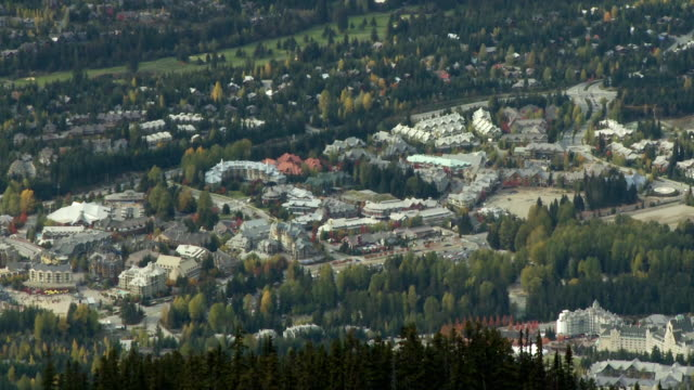 WS ZO View of Whistler village from top of Blackcomb Mountain / Whistler, British Columbia, Canada
