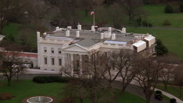 WS AERIAL View of white house from south lawn / Washington D.C., United States