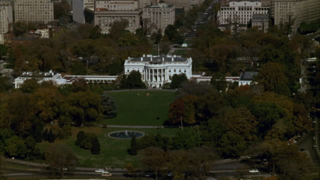aerial pov view of white house / washington d.c. united states - white house washington dc stock videos & royalty-free footage