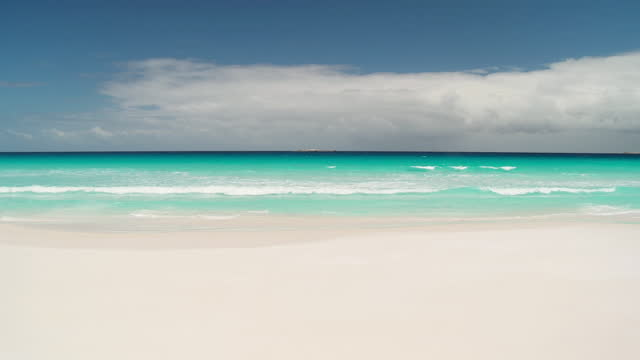 WS View of white sandy beach with sea in background / Cape Arid National Park, Western Australia, Australia