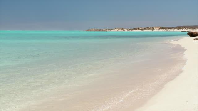 ws pan view of white sandy beach with turquoise water / exmouth, western australia, australia  - western australia bildbanksvideor och videomaterial från bakom kulisserna