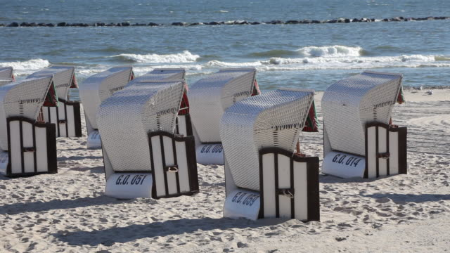 WS View of Wicker beach chairs / Sellin, Island of Rugen, Mecklenburg Vorpommern, Germany