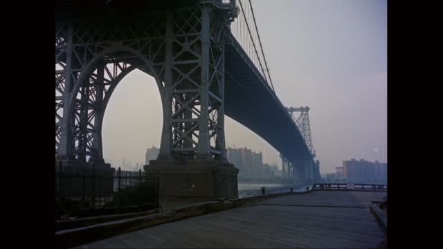 ws view of williamsburg bridge from brooklyn / new york city, new york state, united states - williamsburg bridge stock videos and b-roll footage