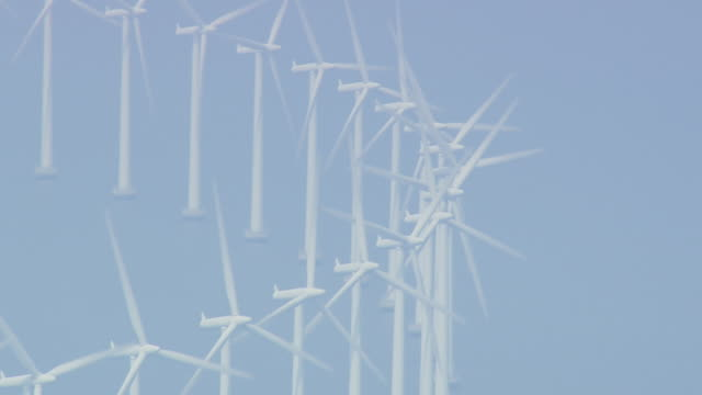 ws aerial zi view of wind farm / copenhagen, denmark - wind power stock videos & royalty-free footage