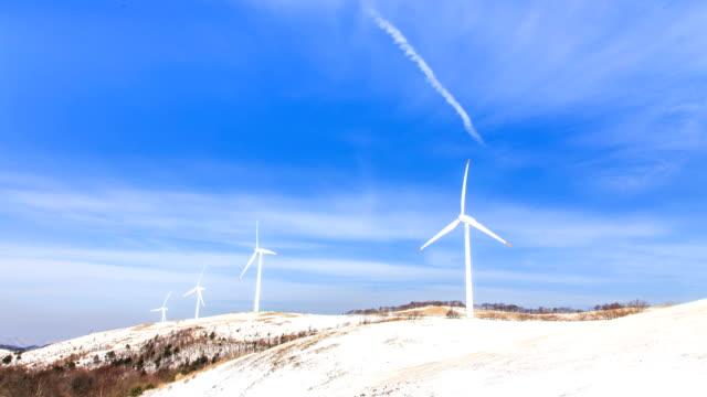 View of wind generator on the hill in Daegwallyeong during winter