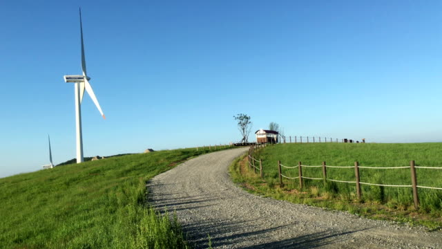 View of wind turbine and path of Daegwallyeong Sky Ranch (popular travel destination)