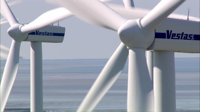 AERIAL WS View of wind turbine / Niebuell+Luebkekoog, Schleswig-Holstein, Germany