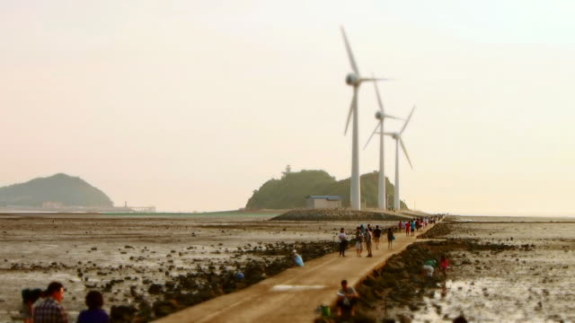ws t/l view of wind turbine with people at tandohang port mud flat at sunset / ansan, gyeonggi-do, south korea - mud flat stock videos and b-roll footage